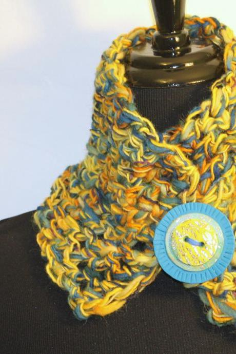 Women's boho style cowl neck, multi color yellow, blue, gold, soft hand crochet art fibers, warm and dense