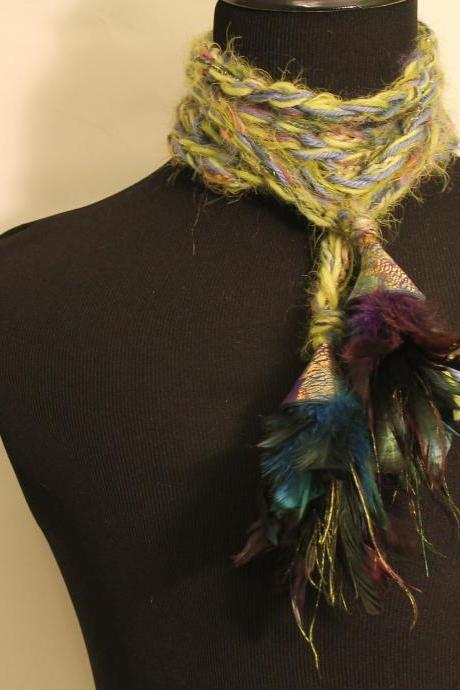 Womens Long Scarf Neck Wrap with Tassels and Jeweled Caps and Feathers, 126 inches Long