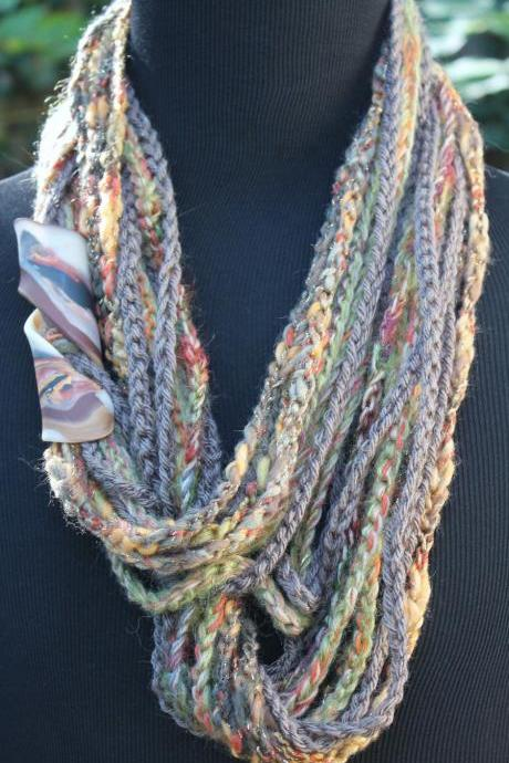 Infinity Scarf, Womens Scarf, Mixed Fiber Neck Wrap/Twist, Can be Worn 3 Ways, Marbled Clay Clasp