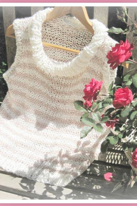 All Seasons Sleeveless Pullover with Mock Cowl Neck Knitting Pattern S M L XL
