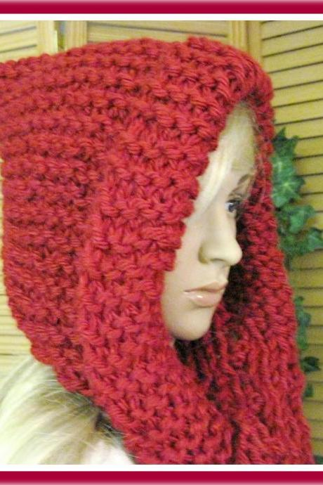 Little Red Riding Hood Hooded Scarf in Bulky Yarn Knitting Pattern Adult Size