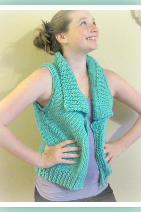 Big Collar Vest Teen to Adult Knitting Pattern