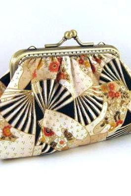 Asian fan frame pouch - Brown frame purse