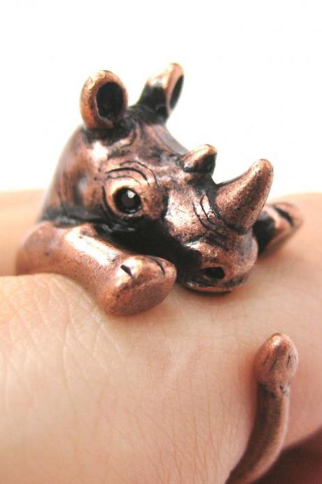 Realistic Rhinoceros Rhino Animal Wrap Ring in Copper - Sizes 5 to 10 Available