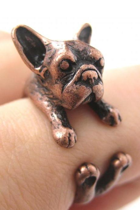 French Bulldog Puppy Animal Wrap Around Ring in Copper - Sizes 5 to 9 Available