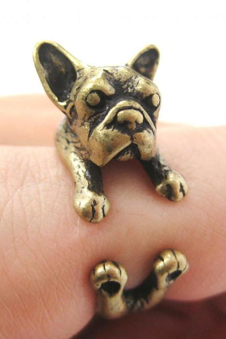 French Bulldog Puppy Animal Wrap Around Ring in Brass - Sizes 5 to 9 Available