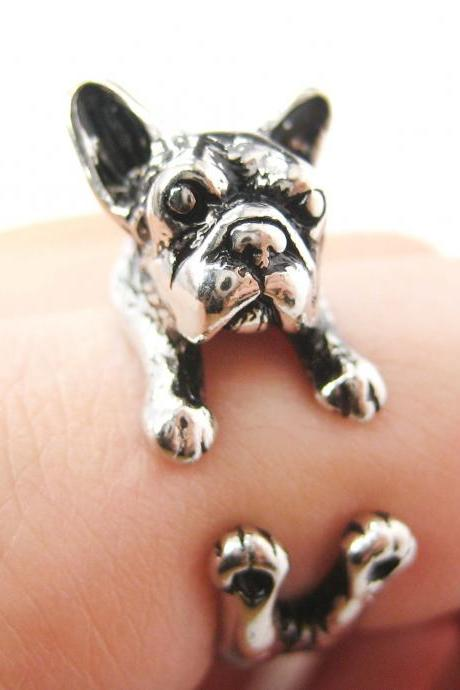 French Bulldog Puppy Animal Wrap Around Ring in Shiny Silver - Sizes 5 to 9 Available