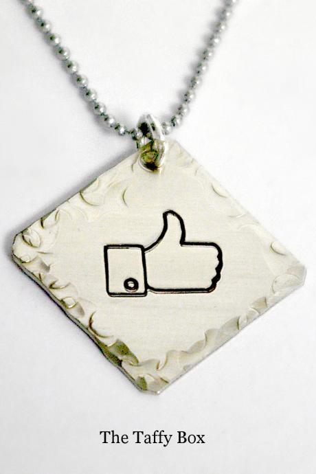 Facebook 'like' thumbs up pendant necklace