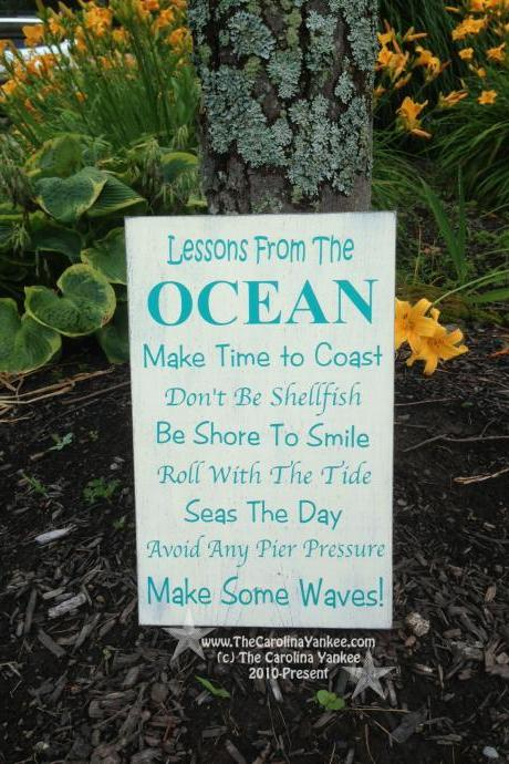 Lessons from The Ocean Home Decor Wood Board 9'x13' - Wall Hanging, Primitive, Distressed, Beach, Dock, Beach House