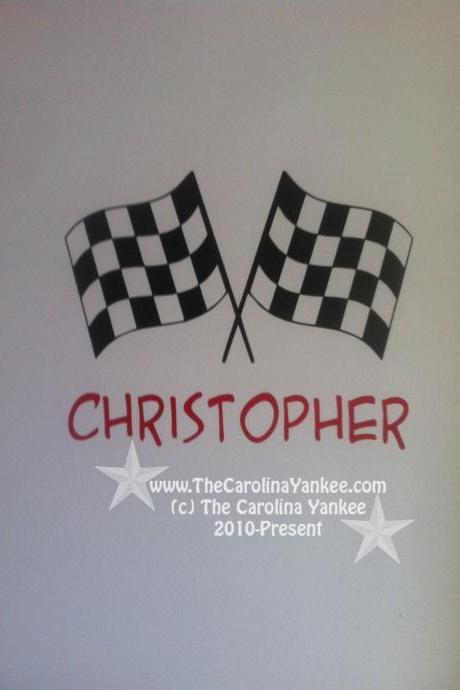 Custom Checkered Flags with Name (choice of colors) Vinyl Decal Wall Decor Sticker - Personalize Customize