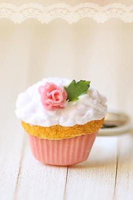 Miniature Food Jewelry - Cupcake Ring - Medium Pink Rose Cupcake Ring