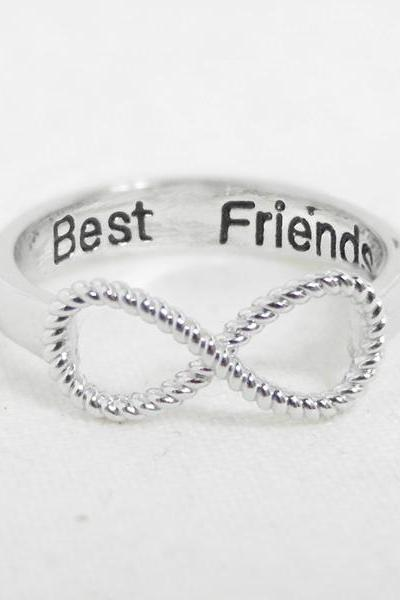 Best Friends Infinity Ring 6.5 size in white gold, BFF Ring