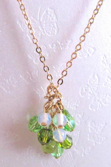 Dancing Green Fairies Necklace-semi precious stones, Peridot, Moonstone, Swarovski Crystal, 14K Gold Plated Chain