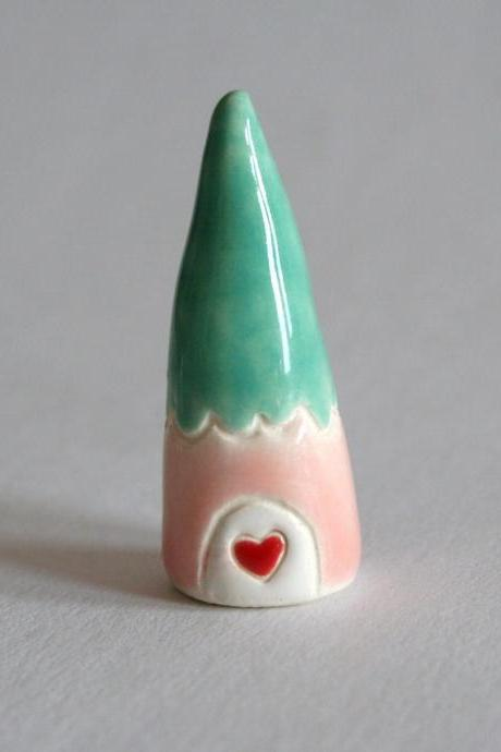 Little Clay House Pink Mint Green Red white Gnome Home Miniature Pottery Cottage