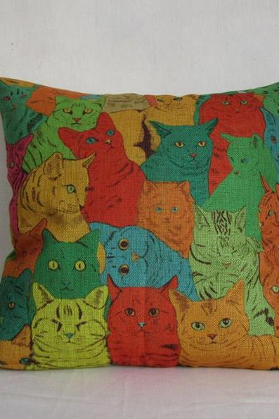 Linen Pillow Cover Decorative Throw Pillow Cushion Cover Colorful Cat Pillow Cartoon Pillowcase Housewares Home Decor 18 inches