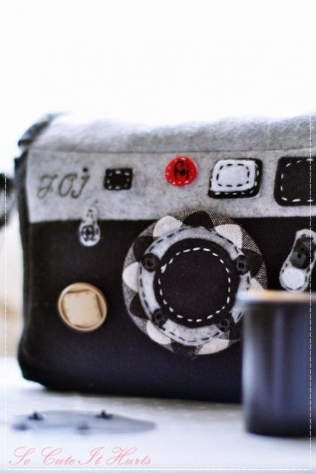 Leica M6 inspired camera/film roll cozy in shades of black/gray