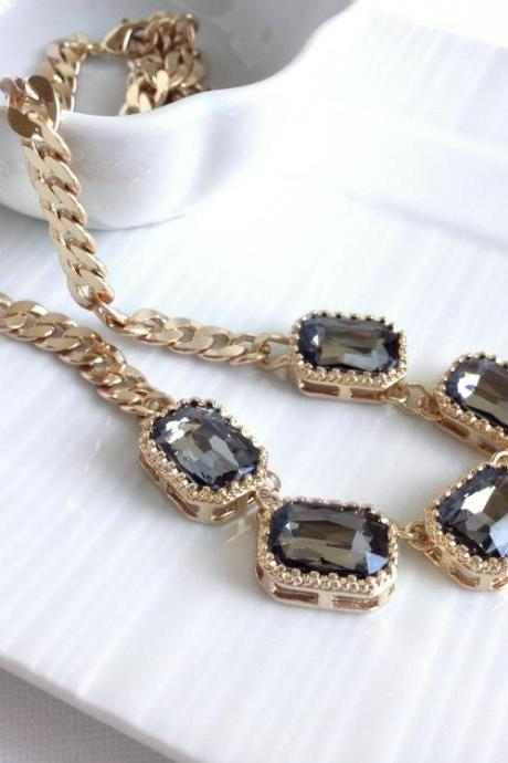 Bezel Stone Necklace - Smokey Stone Necklace - Framed Stone Neklace - Crystal Necklace - Statement Jewelry