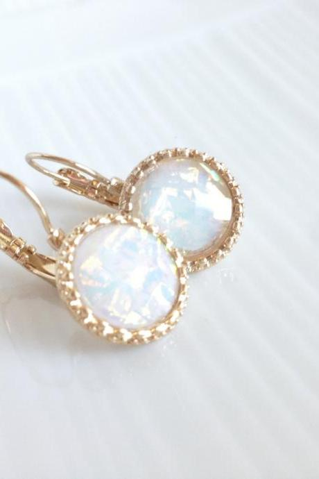 Gold Dangle Earrings - Drop Earrings - French Back Earrings - White Opal