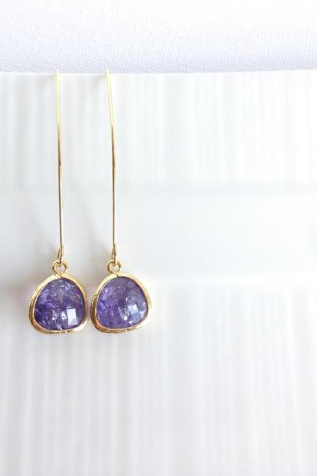Purple Glass Earrings - Framed Glass Earrings - Dangle - Gold - Aurora