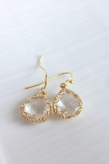 Framed Glass Earrings - Gold Framed Earrings - Dangle - Isabella