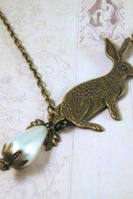 Antiqued bronze bunny rabbit necklace jewelry with white pearl