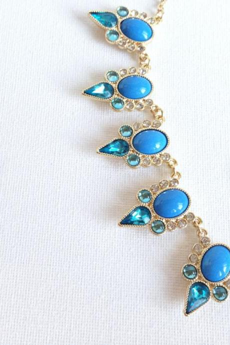 Blue Statement Necklace - Beaded Necklace - Crystal Necklace - Fancy - Gold Necklace