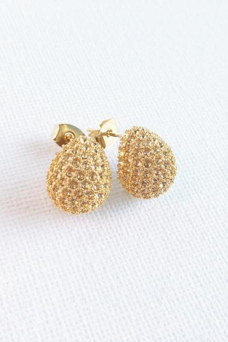 Gold Studed Earrings - Rhinestones - Gold - Pebble