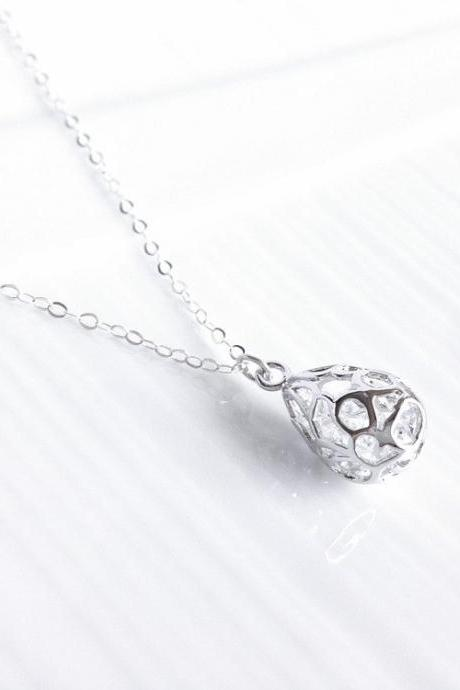 silver teardrop necklace - sterling silver necklace - Amelie