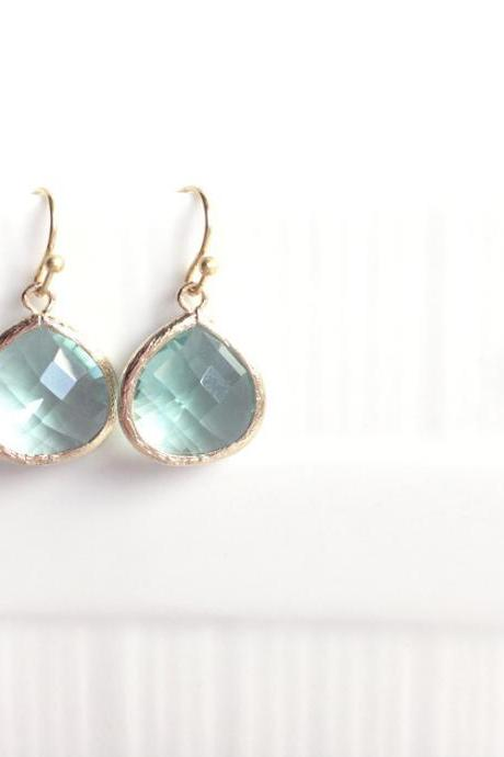 Gold framed glass earrings - teal - gold - Rhea