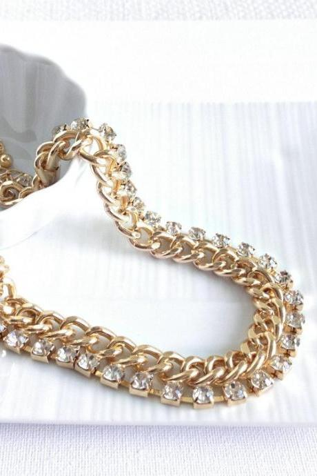 Chunky Chain Gold Necklace - Chain and crystal necklace - Collar Necklace - Gold Collar - Gold Necklace - Crystal Bead Necklace