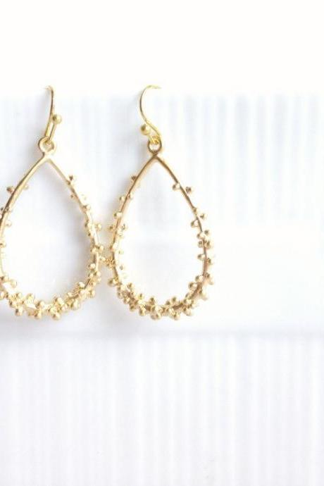 Gold Teardrop Earrings - Gold Dangle Earrings - Dots