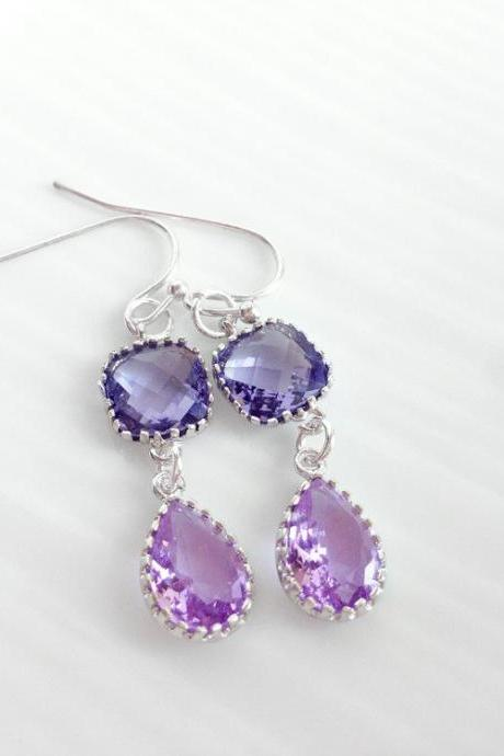 Purple glass framed earrings - gold framed earrings - Purple teardrop earrings - Sweet Tart
