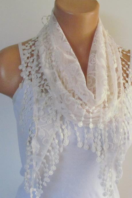 Cream Lace Scarf With Fringe New Season Scarf-Headband-Necklace- Infinity Scarf- Accessory-Long Scarf-Fall Fashion