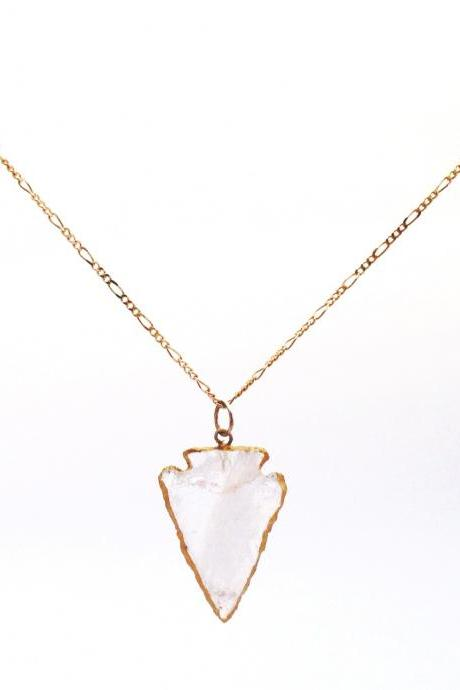 Gold lined Arrowhead Necklace