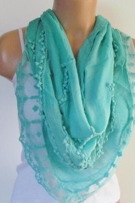 Mint Triangle Scarf With Lace-Shawl Scarf-Cotton Scarf-New Season -Fall Fashion-Pashmina Scarf- Neckwarmer- Infinity Scarf