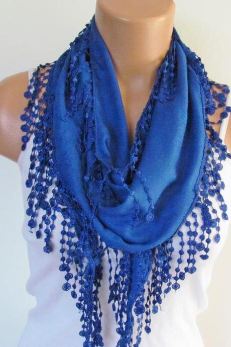 Navy Blue Pashmina Scarf With Fringe-Long Scarf-Fall Fashion Scarf-Headband-Necklace- Infinity Scarf- New Season Accessory-Gift