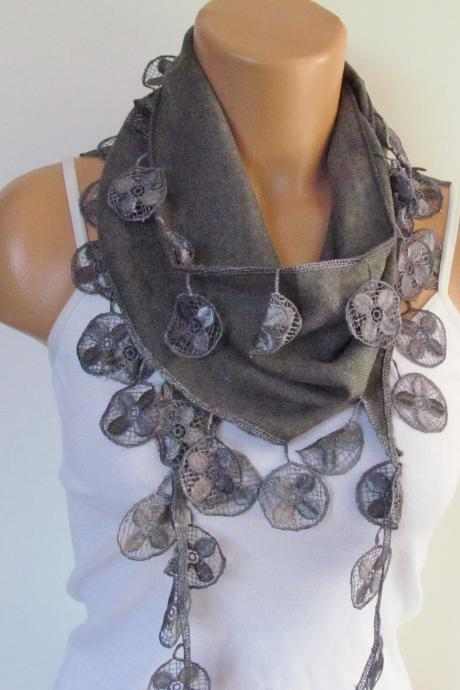Gray Blue Pashmina Scarf With Fringe-Long Scarf-Fall Fashion Scarf-Headband-Necklace- Infinity Scarf- New Season Accessory-Gift