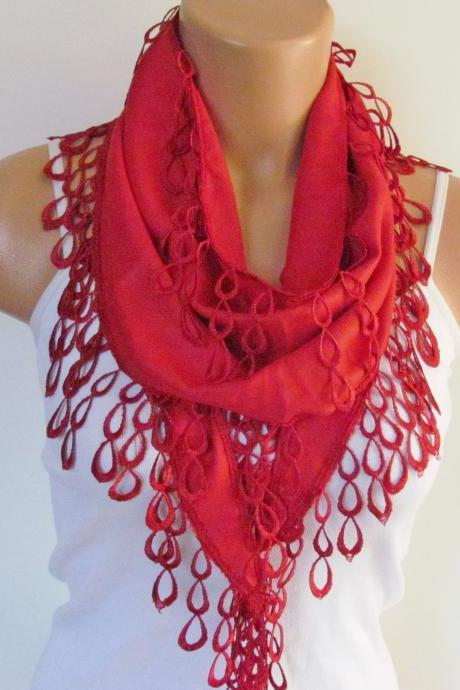 Red Pashmina Scarf With Fringe-Long Scarf-Fall Fashion Scarf-Headband-Necklace- Infinity Scarf- New Season Accessory-Gift