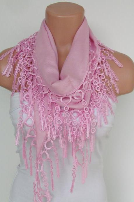 Pink Pashmina Scarf With Fringe-Long Scarf-Fall Fashion Scarf-Headband-Necklace- Infinity Scarf- New Season Accessory-Gift