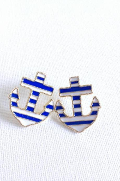 Anchor Stud Earrings - Nautical Jewelry - Anchors - Nautical and Stripes - Gold - Anchor Studs