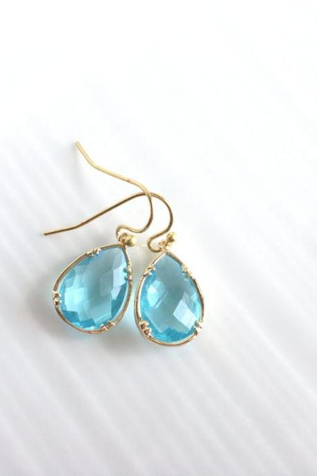 Blue Framed Glass Earrings - Gold Dangle Earrings - Blue Earrings - Blue Glass Earrings - Gold - Sparkle