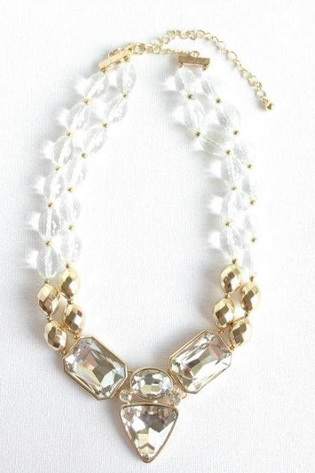 Glass Stone Necklace - Beaded Necklace - Acrylic Beads - Ice Queen
