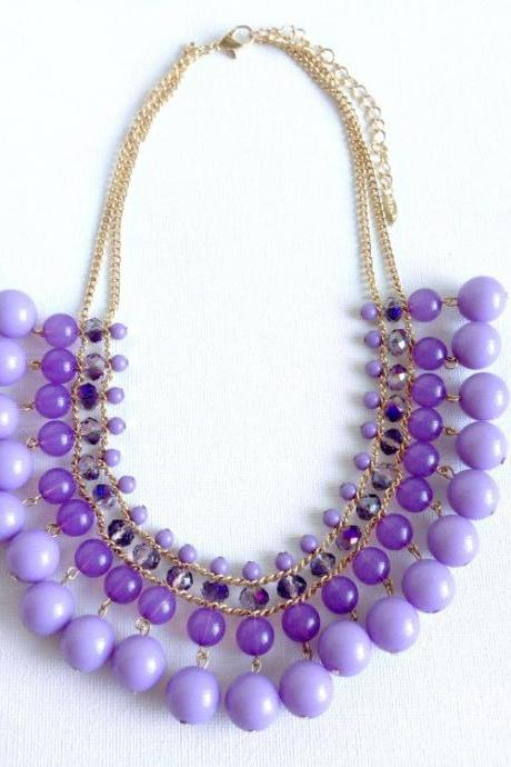 Purple beaded statement - purple jewelry - statement piece - designer inspired - Purple Amazon