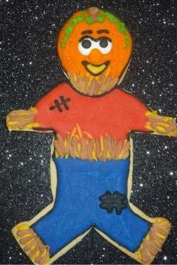 Pumpkin Head Scarecrow Fall Autumn Large Sugar Cookies Order of 3