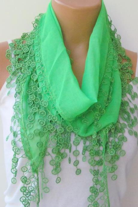 Long Scarf With Fringe-New Season Scarf-Headband-Necklace- Infinity Scarf- Spring Accessory-Pistachio Green Scarf-New Season-Gift