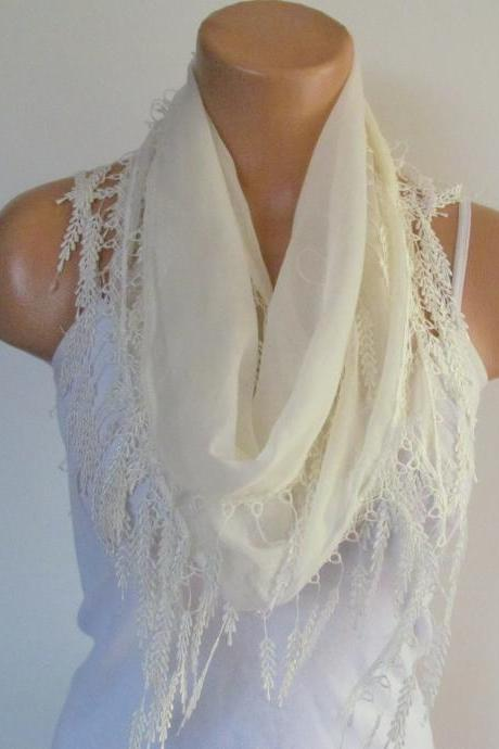 Long Scarf With Fringe-New Season Scarf-Headband-Necklace- Infinity Scarf- Spring Accessory-Cream Scarf-New Season-Gift