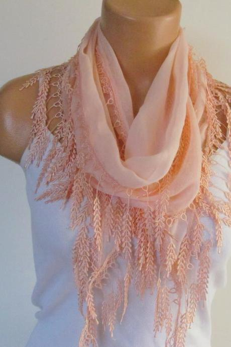 Long Scarf With Fringe-New Season Scarf-Headband-Necklace- Infinity Scarf- Spring Accessory-Salmon Scarf-New Season-Gift