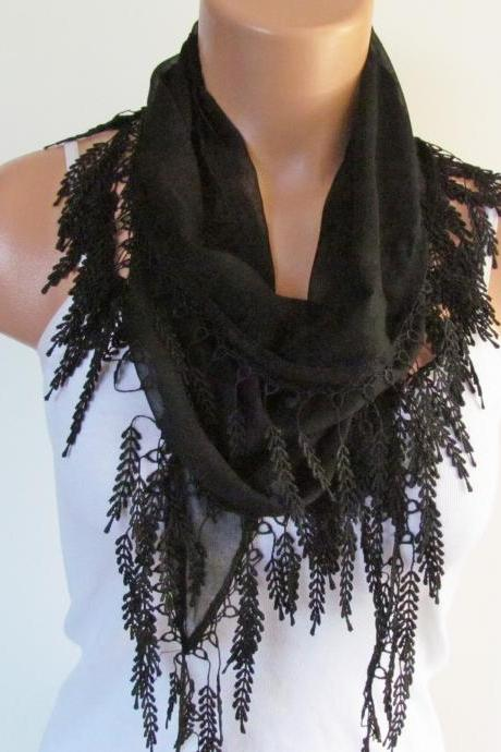 Long Scarf With Fringe-New Season Scarf-Headband-Necklace- Infinity Scarf- Spring Accessory-Black Scarf-New Season-Gift