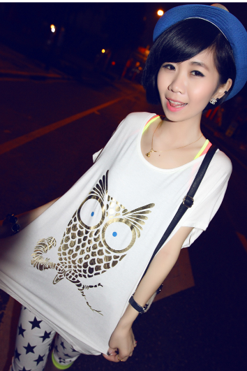 Fashion loose big yards short sleeve T-shirt bottoming shirt