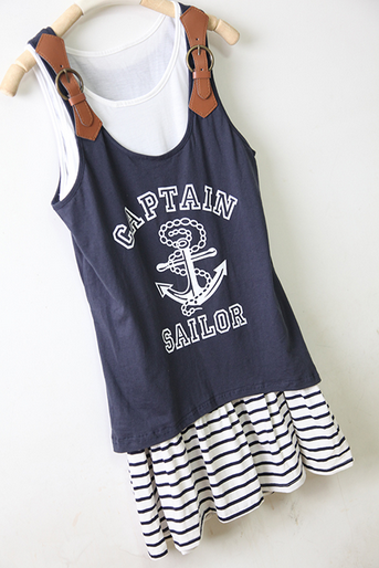 · Anchor pattern two sets of cotton harness dress